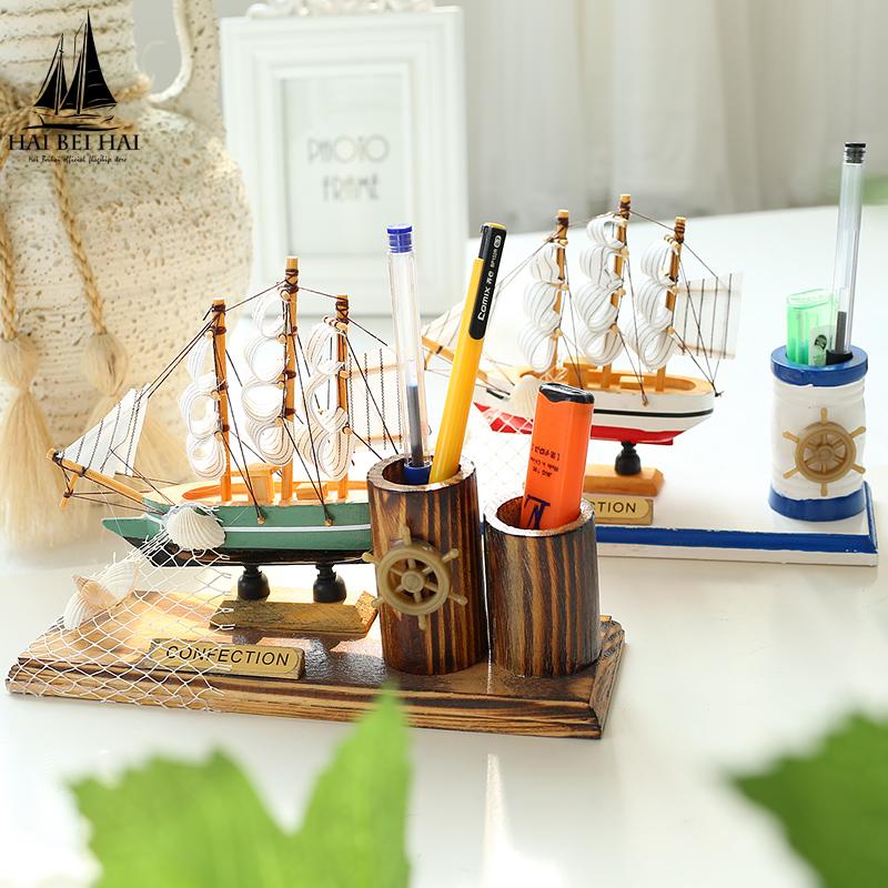 地中海帆船筆筒辦公室一帆風順開業小擺件 桌麵 家居裝飾品