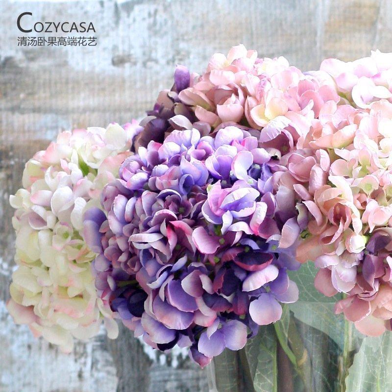 歐式複古田園大繡球 仿真花 客廳仿真花擺件裝飾花藝絹花假花