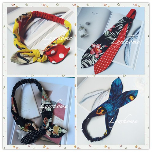 Alice Japan lovely bowknot color matching no iron wire tie hair accessories elastic hair band Headband