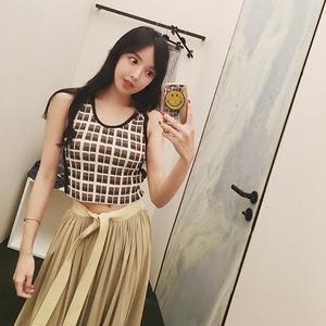 openlady冰麻针织格子小背心修身显瘦无袖超短款露脐性感女装春季