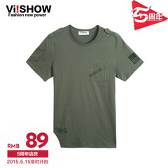 Viishow2015 summer dress new short sleeve t-streets of Europe and the solid color short sleeve cotton t-shirt simple crew neck t