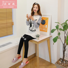 The new round collar in the fall and winter of han edition girl pure cotton long sleeve pajamas cute cartoon students female leisure wear suits