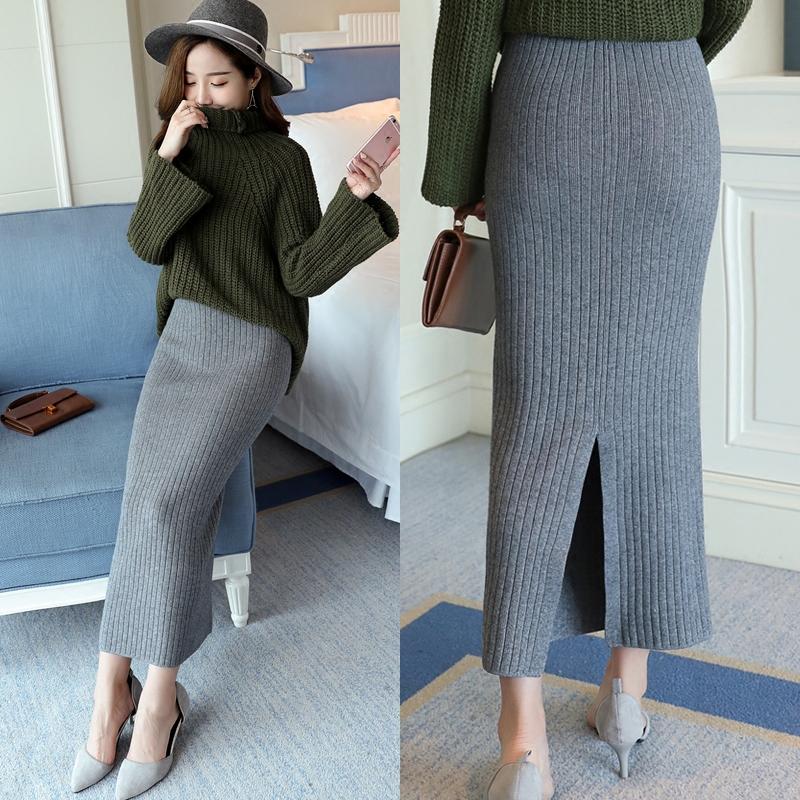 针织半身裙秋冬季女新款加厚开叉一步裙包臀裙高腰中长款毛线裙子券后37.90元