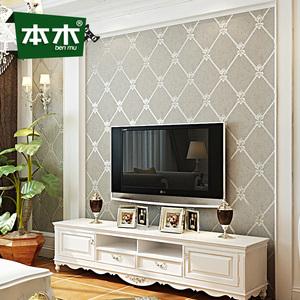 本木无纺布电视背景墙壁纸 卧室客厅简约墙纸 条纹大理石欧式软包