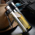 那加雪飛玻璃杯帶蓋便攜茶杯過濾水杯透明雙層杯子隨行杯A3325
