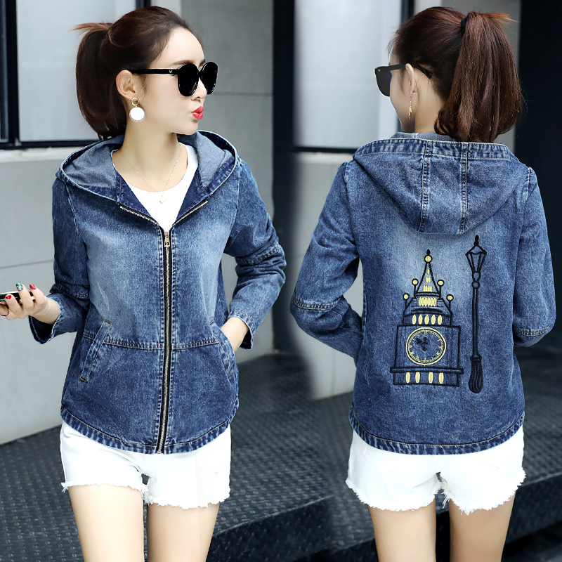 2017 spring new casual denim jacket womens long sleeve loose and thin hooded top student jacket