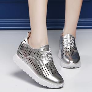 乔圣堡春夏新款内增高女鞋系带高跟圆头休闲鞋镂空韩版厚底单鞋女