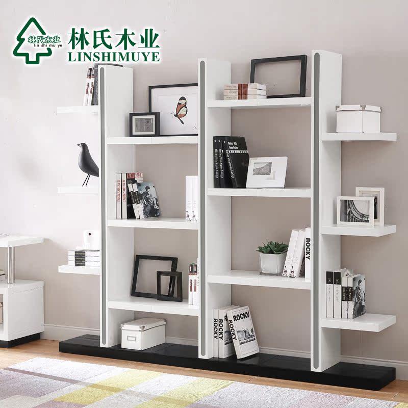 林氏木業書櫃書架簡約 置物櫃展示陳列櫃書房黑白 BI1X~C