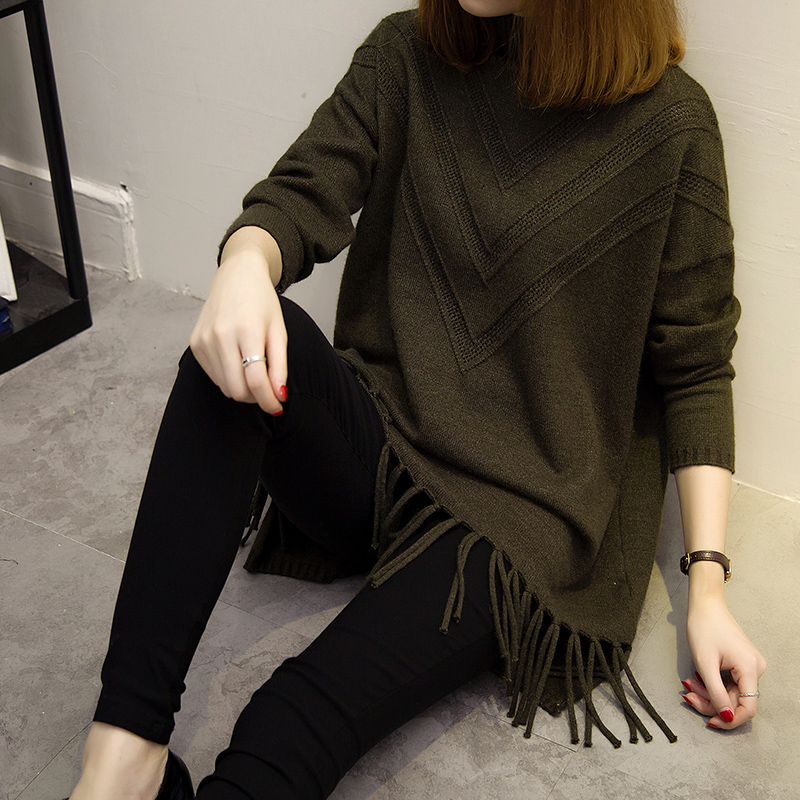 Sweater female autumn and winter high neck Pullover Korean version solid color loose tassel sweater medium long bottomed sweater sweater fashion