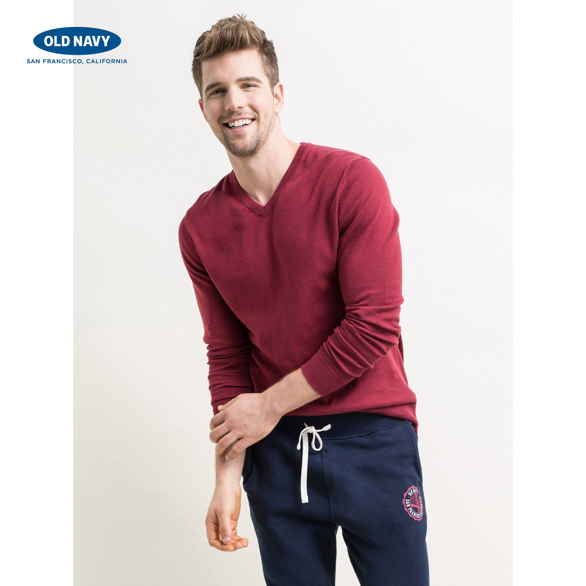 Old Navy男裝 純色全棉V領 針織衫 款長袖薄毛衣 274530 W