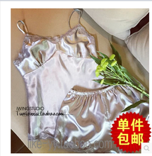 The new summer 2015 han edition silk sexy female suit silver lace condole belt unlined upper garment shorts two woolly pyjamas