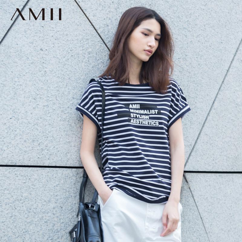 Amii旗舰店 夏装新款艾米女装条纹大码宽松圆领短袖T恤女潮