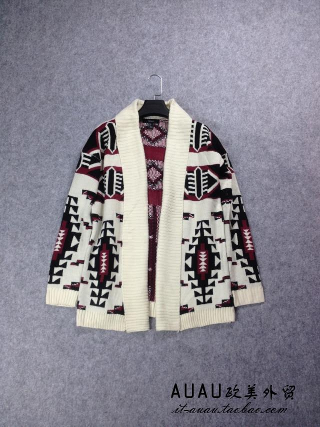 Nordic geometric jacquard button less knitted sweater medium length cardigan coat