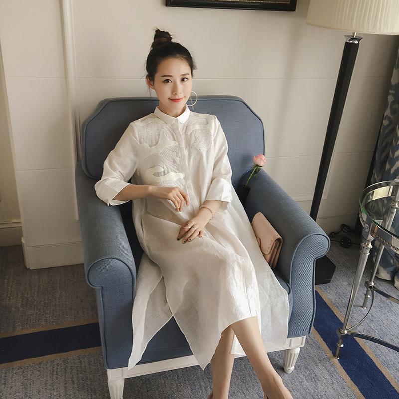 2021夏装新款衬衣女裙子韩版宽松亚麻女装韩范白衬衫裙女中长款