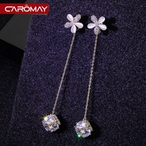 Sweet floret face thin fringed earrings 925 silver needles Korean teen ins temperament long earrings earrings