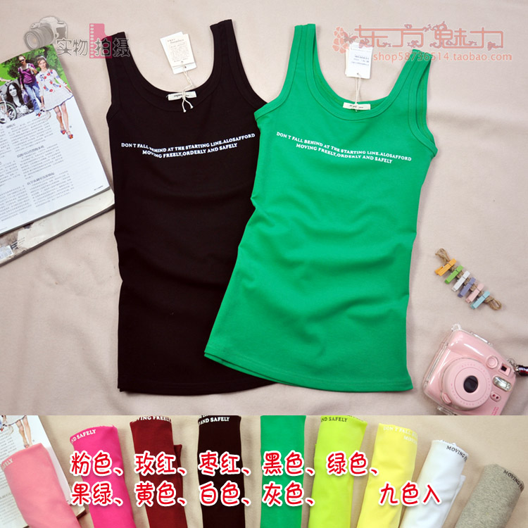 New summer womens round neck, simple fashion printing, tight fitting, suspender letter on the outside and pure cotton bottomed vest on the inside