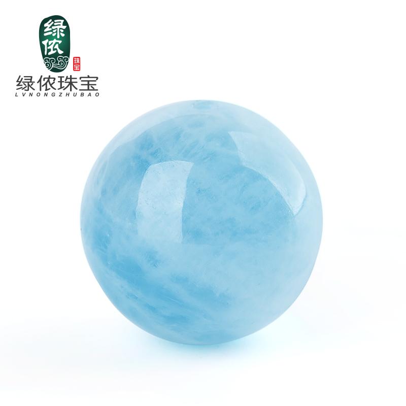 綠儂天然海藍寶散珠圓珠冰透潤藍手鏈佛珠diy 半成品水晶飾品
