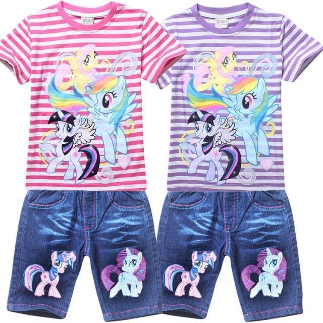 Внешней торговли Детская одежда малых burberr летом костюм девушки брюки хлопок полосой короткий рукав футболки 8128 + 9276