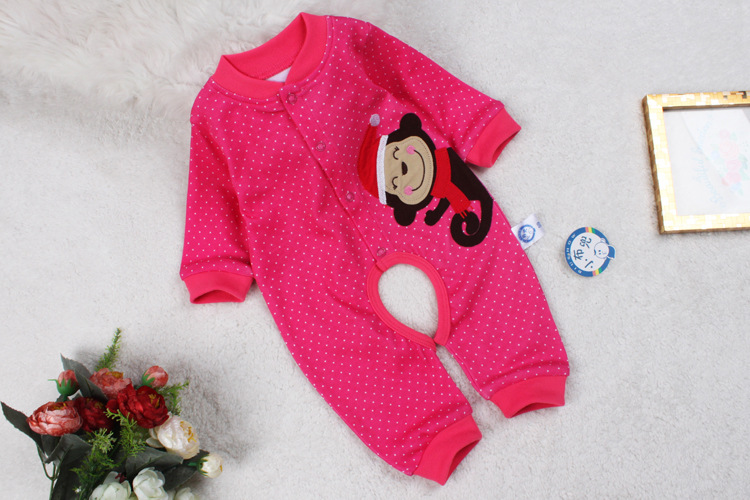 Clearance processing autumn baby open crotch body suit high quality embroidered double-sided cotton Jumpsuit