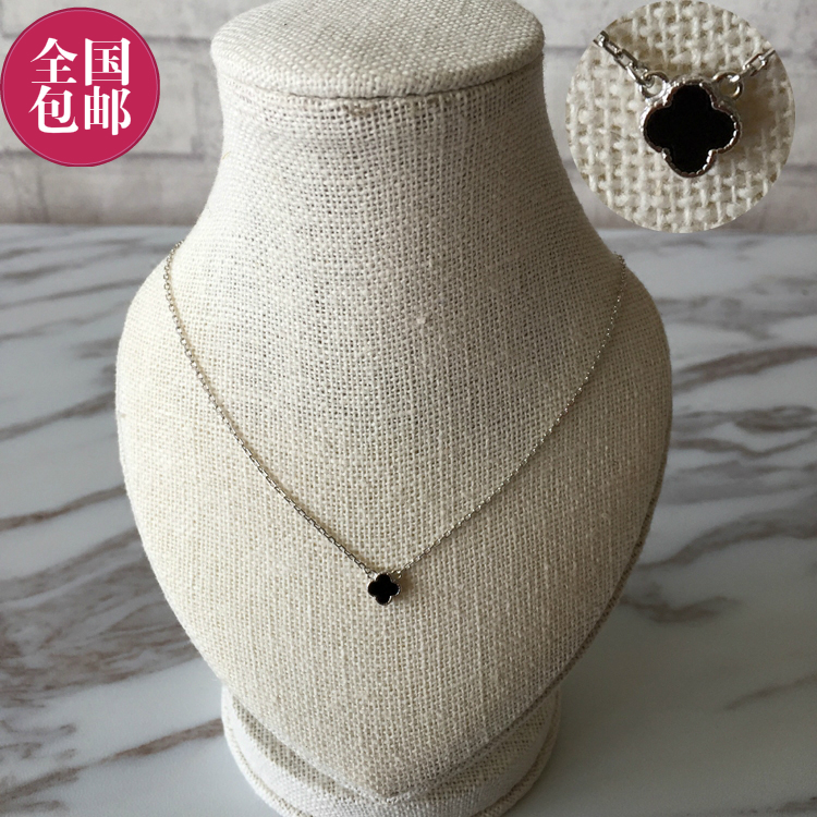 South Korea East Gate designer new sweet temperament delicate small black clover pendant thin necklace package mail