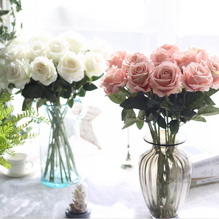 单支仿真玫瑰花假花套装高档客厅餐桌装饰花干花花束摆件摆设花艺