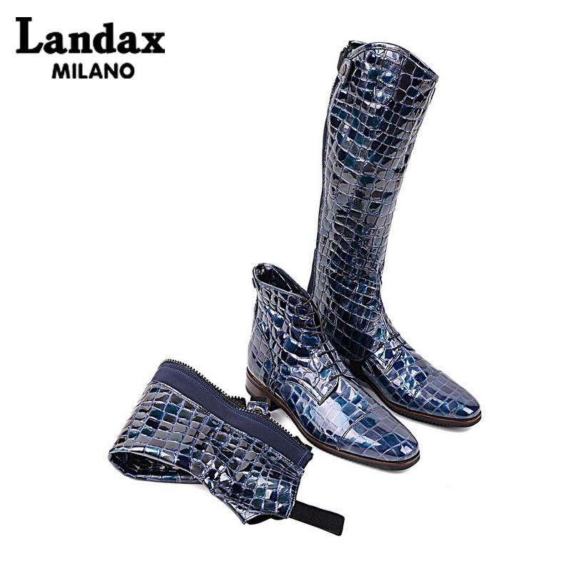 Landax意大利手工骑士靴平底女靴可折短靴时尚牛皮马靴显瘦长筒靴