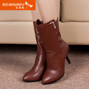 Red Dragonfly new genuine full leather women shoes winter fashion tube in the Korean version of fine roots in high boots with