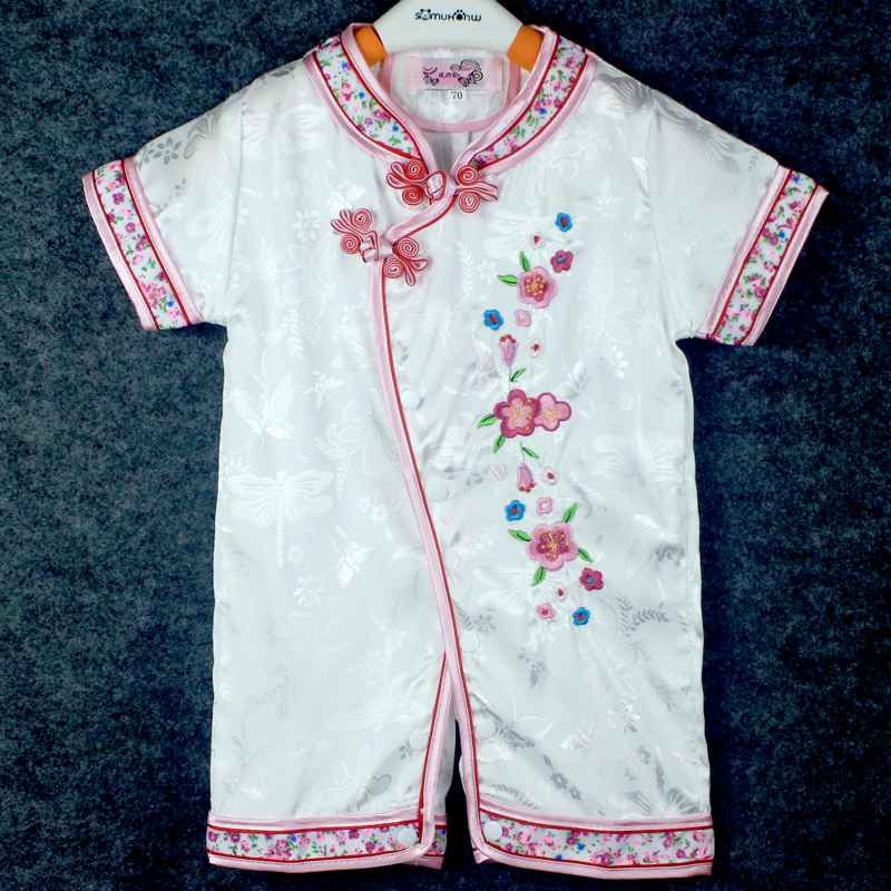 Authentic Tang clothes for infants and toddlers White Embroidered Baby Jumpsuit childrens hatsuit cheongsam collar