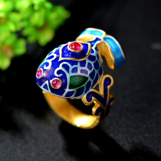 Thai ladies silver plated cloisonne 925 Silver carp red corundum ring finger ring new