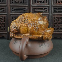 Hung Ching old material Vietnamese Huanghua pear three foot gold toad wood carving tiger skin grain yellow flower pear recruit gold toad hand piece