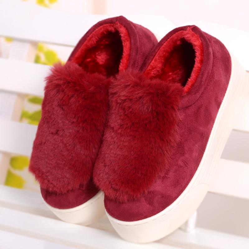 冬棉厚底拖鞋女士超高跟棉靴毛毛可愛坡跟棉鞋厚底防滑保暖