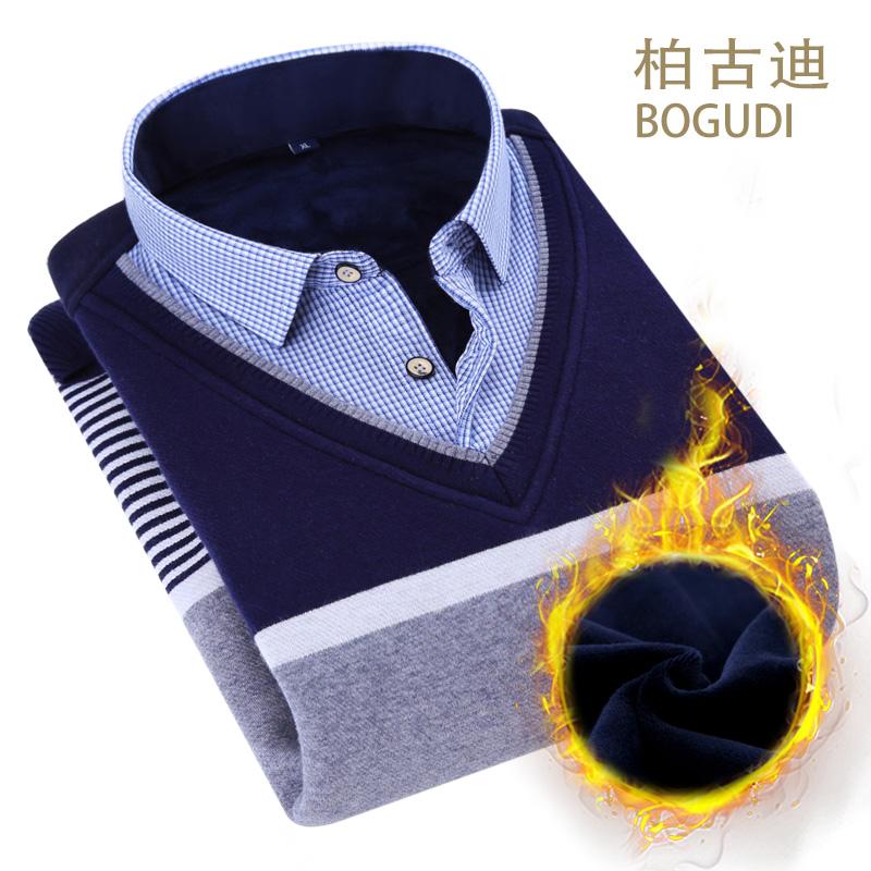加絨加厚保暖青年針織襯衫