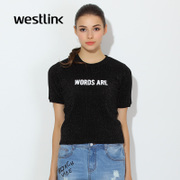 Westlink/West spring 2016 bright shining new black and white letters printed silk round neck short sleeve t-shirt woman