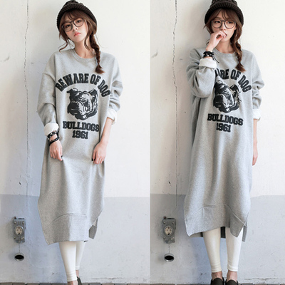 Qiu dong outfit under the new South Korea bought big dog printed spread out the fork long hair thickening long-sleeved fleece dress