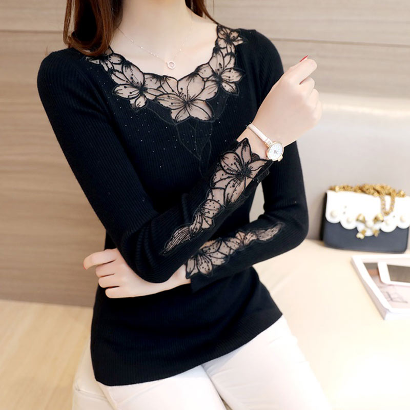 Autumn and winter new lace embroidered crew neck 2020 outer sweater womens Pullover long sleeve bottomed shirt slim knit top