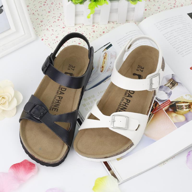 Summer flat bottomed womens student cork sandals Korean version of tide skin sandals anti slip herringbone fish mouth casual beach shoes