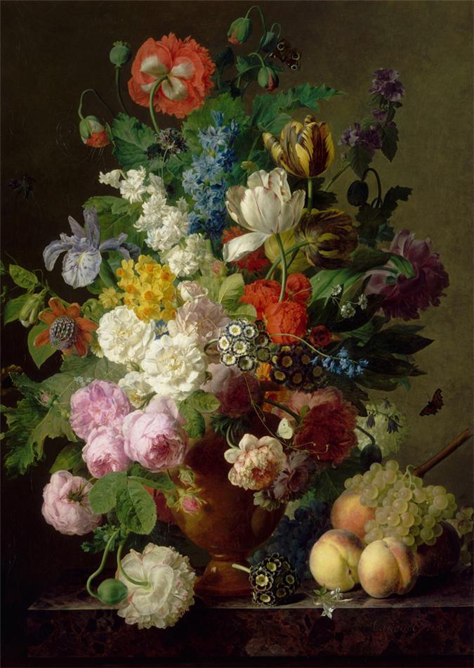 Цифровая живопись DIY мешок почты льна в руке цветок ваза окрашены в полном расцвете и их гнев 40 * 50 60 * 75 80 * 100