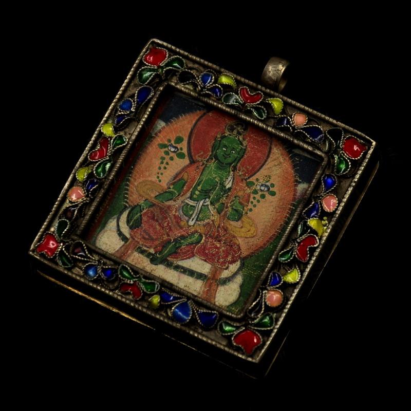 尼泊尔精品老唐卡随身佛唐卡老物件纯银手工绘画绿度母唐卡不议价