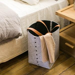 日式毛毡可折叠手提大号家居收纳篮脏衣篮收纳筐北欧家用脏衣服桶