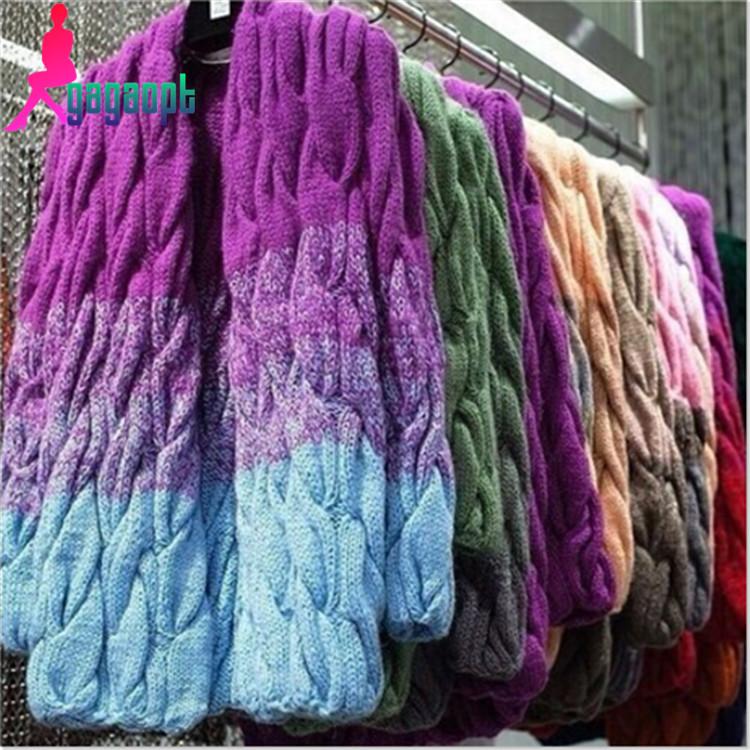 Gagaopt свитердлинныйвязанный прилива свитер