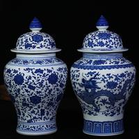 Вид мораль город керамика устройство античный синий и белый хранение бак генеральный бак печать бак конфеты бак домой аксессуары гостиная украшение