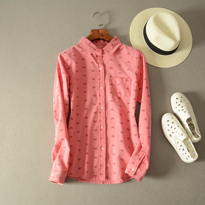 Autumn new Japanese literary small pure and fresh and lapel shirt bicycle printed shirt pocket foreign trade dress