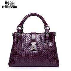Miao di autumn 2015 new middle-aged women bags large leather braided Roman baodan shoulder bag with the bag