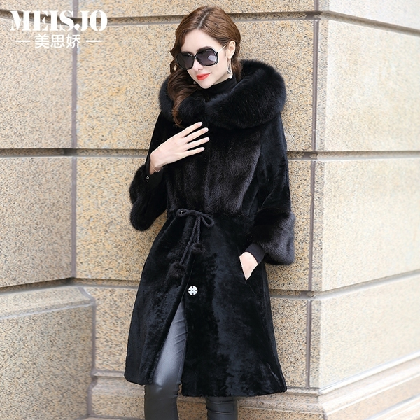 MELS Johnson 2016 new high-end mink fur coat in the long section hooded waist sheep wool coat female