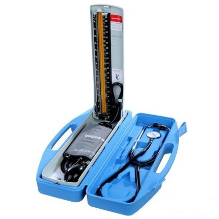 鱼跃牌水银台式血压计+听诊器保健盒 家用医用手动上臂式血压计QX