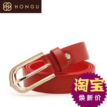Red valley counters 2015 leather belt buckle type needle contracted fashion in Europe and America. Lady big waist belt quality goods