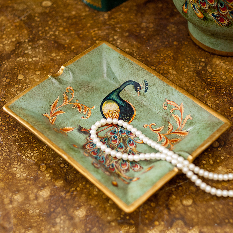 芮詩凱詩 藍羽雀 歐式美式複古陶瓷孔雀裝飾煙灰缸 擺件