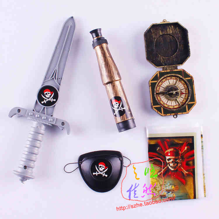 Pirate set telescope treasure map compass knife children accessories role play props