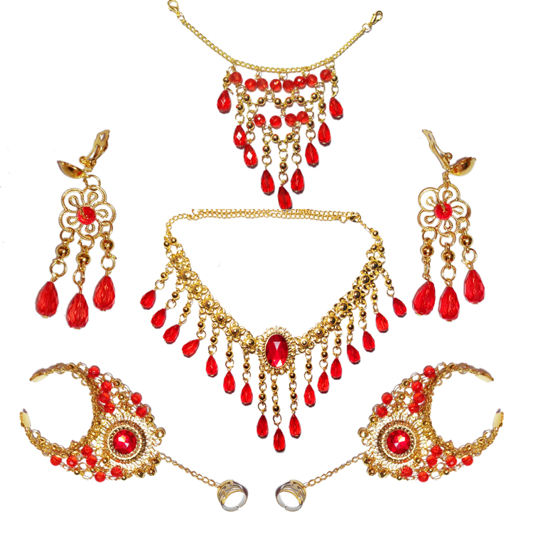 Belly Dance accessories complete set of Indian dance jewelry bracelet accessories female adult headdress head chain hand Necklace Earrings