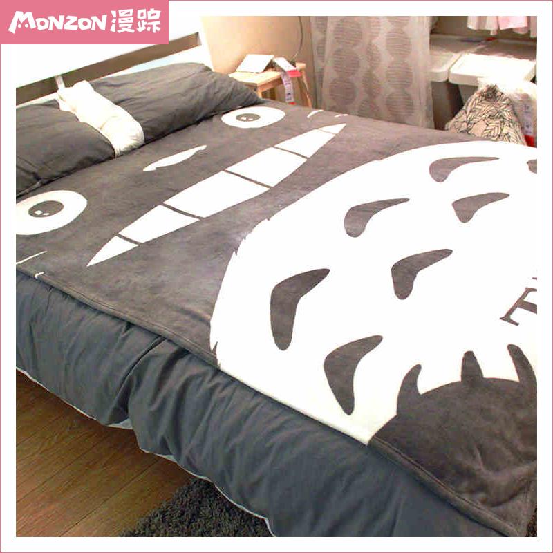 漫蹤宮崎駿龍貓可愛萌係二次元毛毯空調被床單珊瑚絨毯子動漫周邊